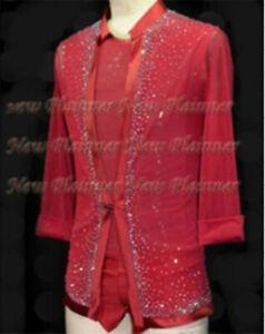 M364 hot sale Men Latin dance  vest coat set crystals  XL size new red