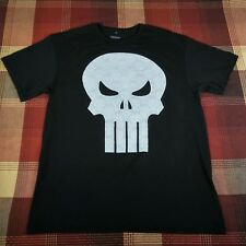 MARVEL The Punisher Big Logo Skull T-Shirt Black White Men's Size Large