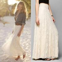 Women Double Lace Layer Chiffon Pleated Long Maxi Dress Elastic Waist Skirt
