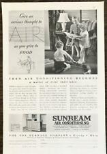 1937 Sunbeam Air Conditioning PRINT AD Fox Furnace Co Elyria OH