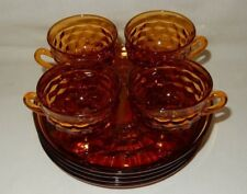 Set of 4 Cubist Amber Homestead Hospitality Luncheon Snack 4 Plates 4 Cups Cube