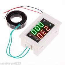 AC 60-300V 50A LCD Amp Volt Dual Display Panel Meter Gauge+Current Transformer