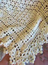 Crochet Baby Blanket Afghan Shawl Off White Caron Simply Soft Yarn