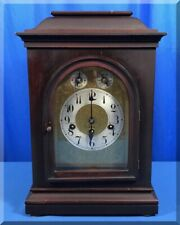 Antique Kuehl K.C. Co Germany Brass Bevel Glass Chime Wood Mantle Clock 17x11x7