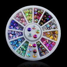 12 Colors Sharp Crystal AB Rhinestone Wheel Glitter Nail Art Tips Decoration DIY
