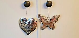 Shiny Silver Colour Metal Butterfly or Valentine Heart Hanging Decoration