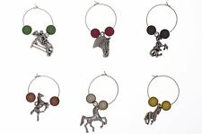 Set of 6 Handmade Horse Lovers Wine Glass Charms - FREE P&P