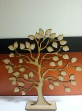 2 x Wooden Mdf Family Tree On Stand 25cm 4mm  & 20 x 3cm Hearts