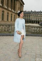 Louis Vuitton Spring 2012 Blue Boucle Coat Matching Skirt Suit F40 uk 12