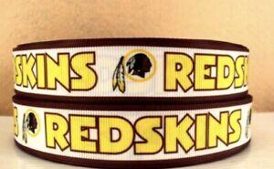 By The Yard 7/8 Inch Printed Washington Redskins Football Grosgrain Ribbon Lisa