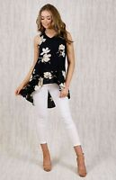 BLACK FRILL HIGH LOW TOP WITH FLORAL PRINT