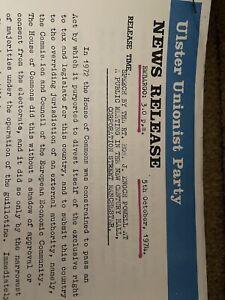 Ulster Unionist Party Newsletter 1974 Enoch Powel