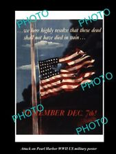 Old Large Historic Photo Of Wwii Us Military Pearl Harbor Invasion Poster