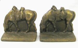 Vintage grazing Horse cast iron bookends western no rider saddle equestrian