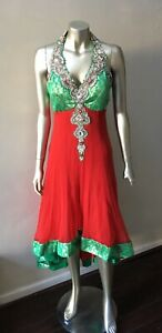 Embellished Beaded Chiffon Hi Lo Cocktail Party midi India Red Green Dress M 8
