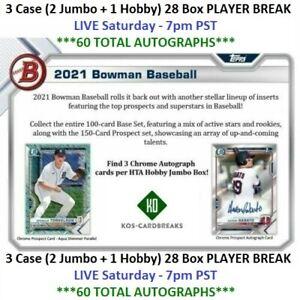 James Beard White Sox 2021 Bowman 3 CASE 2 Jumbo/1 Hobby 28 Box PLAYER BREAK