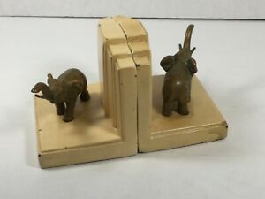 Mid Century Modern Brass Elephant  on Creme colored metal design Bookends B21