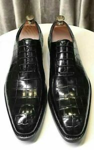 Mens Handmade Shoes Black Leather Crocodile Patterned Formal Dress Casual Boots