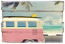 Surf Bus Wooden Pink VW Camper Van Sign Printed Wall Art Decoration With Rope