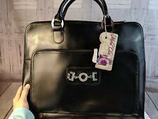 Metro Chic handbag briefcase leather laptop bag tote shoulder travel carry black