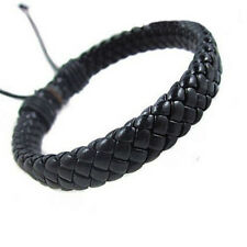 Unisex Women Men Genuine Braided Leather Adjust Black Surfer Bracelet Bangle