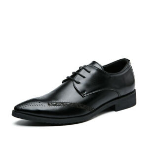 Mens Brogue Casual Pointy Toe Lace Up Oxfords Formal Business Office Dress Shoes