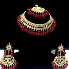 Indian Bridal Choker Kundan Necklace Earrings Tikka Jewelry set Gold plate