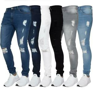 Mens Super Skinny Ripped Jeans Stretch Frayed Denim Distressed Pants All Waists