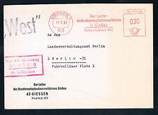 """BRD-BERLIN, Stempel """"WEST"""" auf Brief """"Dienstzug DB 80609"""", Bundesnotaufnahme.."""