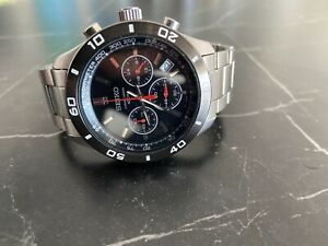 Seiko Mens Stainless Steel Black Red Dial Tachymeter Chronograph Watch 6T63-00E0