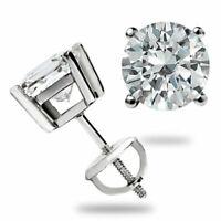 1.50 Ct Round cut Diamond Stud Screwback  Earrings 14k White Gold Over
