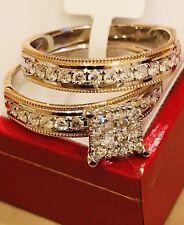 engagement ring band wedding ring set 10k solid yellow & white gold diamond
