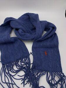 $78 Polo Ralph Lauren:  blue  Cable-Knit Scarf cashmere  blend  PONY  #201c