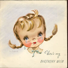 Vintage 1949 BIRTHDAY Card EMBOSSED Little Girl EVE ROCKWELL Mid-Century