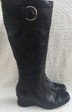 Next Black Leather Knee High Boots Size 4/37 Low Wedge Zip Up Riding Walking