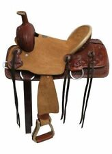 "13"" Double T Youth Hard Seat Roper Style Saddle W/ Basket Weave Tooled Leather!"