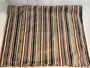 """Cushion Covers x 2 24x24"""" Large Square Velvet Stripe Multicoloured Red Grey W649"""