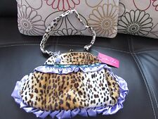 LEOPARDSKIN FAUX FUR LADIES HANDBAG WITH SEQUINS/STONES BY JONATHAN CHARLES
