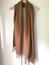 Plain Camel Brown Quality Knit Fringe Edge Long Rectangle Scarf