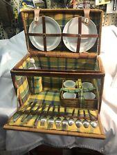 Vintage Rattan Wicker Hamper Picnic Basket w/ Yellow & Green Lining