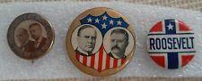 McKinley Roosevelt 3 Orig Political Pin Back Jugate WhiteHead Hoag Button