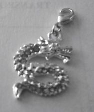 BEAUTIFUL SPARKLY SILVER & RHINESTONE SNAKE CLIP ON CHARM  - 925 SILVER PLATE