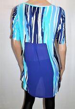 LIZ DAVENPORT Brand Blue Striped Daydream Jersey Tunic Dress Size M BNWT #TM111