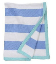 """Baby Boy Striped Blue and White Baby Blanket 30"""" x 40"""""""