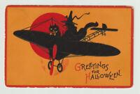 Vintage Halloween Postcard, A Black Cat & a Witch, Trademark G, 1912
