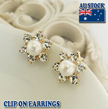 18CT Gold Plated Clip On Earrings With Cream Sea Shell Pearl And Big Crystal