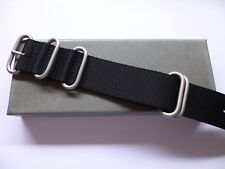 26mm Black Zulu Watch Strap - Nato OTAN Strap for Panerai Garmin- EU Shipping