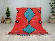 """Handmade Moroccan Vintage Rug 4'4""""x5'6"""" Berber Tribal Orange Blue  wool Carpet"""