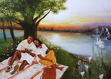 "African American Art ""Beside the Still Water"" Black Romance Print by Gamboa"