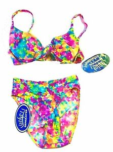 Sunsets Watercolor Floral Bikini Swimsuits w/Push Up Bra Top Size Small NWT